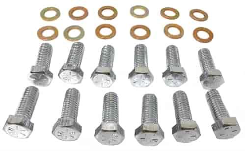 RPC STEEL INTAKE MANIFOLD BOLT W/WASHER 12 PC KIT - SB CHEVROLET MOPAR /  AMC 290-401 3/8 -16 X 1
