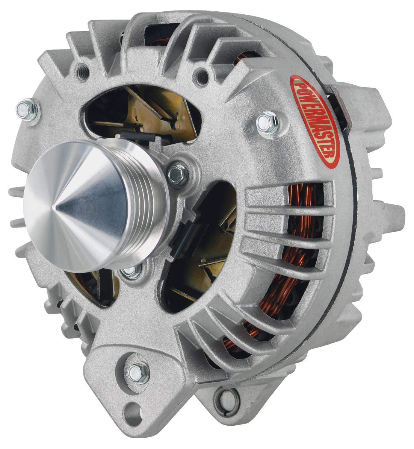 Powermaster 95 Amp Chrysler Square Back Alternator - Natural Finish -  6-Groove 52 mm & Cone, 1-Wire