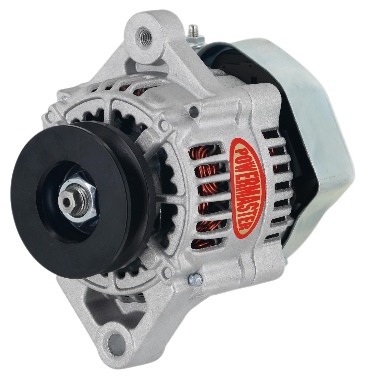 powermaster denso style 93mm race alternator 75 amp 1 wire  mini denso street 87 92 1 wire 35amp
