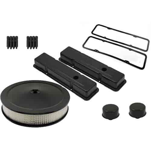Mr. Gasket 9800BPK - Mr. Gasket Small Block Chevy Flat Black Dress-Up Components