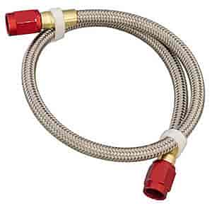 Nitrous Express 12019 D-6 18 Stainless Steel Braided Hose with Red Connector