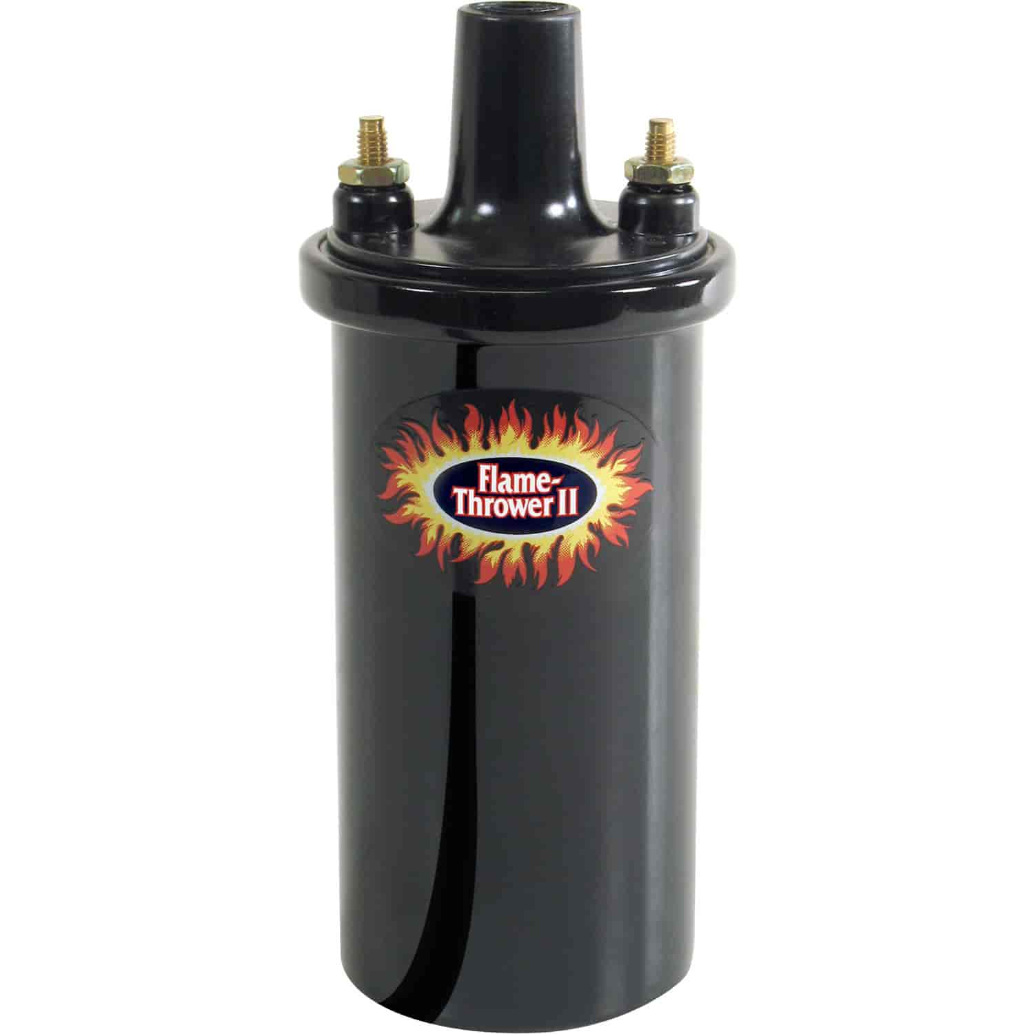 Black 12V Round Oil Filled Canister Style Electronic Ignition Coil 45,000 Volts