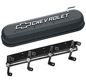 Proform Valve Covers GM LS V-8 Diecast Aluminum with Raised Chevrolet Logo  in Black Crinkle Finish Kit