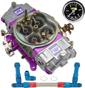 Proform Race Series Mechanical Secondary 950 cfm Carburetor Kit with  Blue/Red -8AN Dual Feed Fuel Line and Gauge