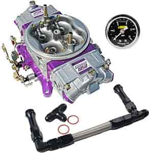 Proform Race Series Mechanical Secondary 1050 cfm Carburetor Kit with Black  -8AN Dual Feed Fuel Line and Gauge