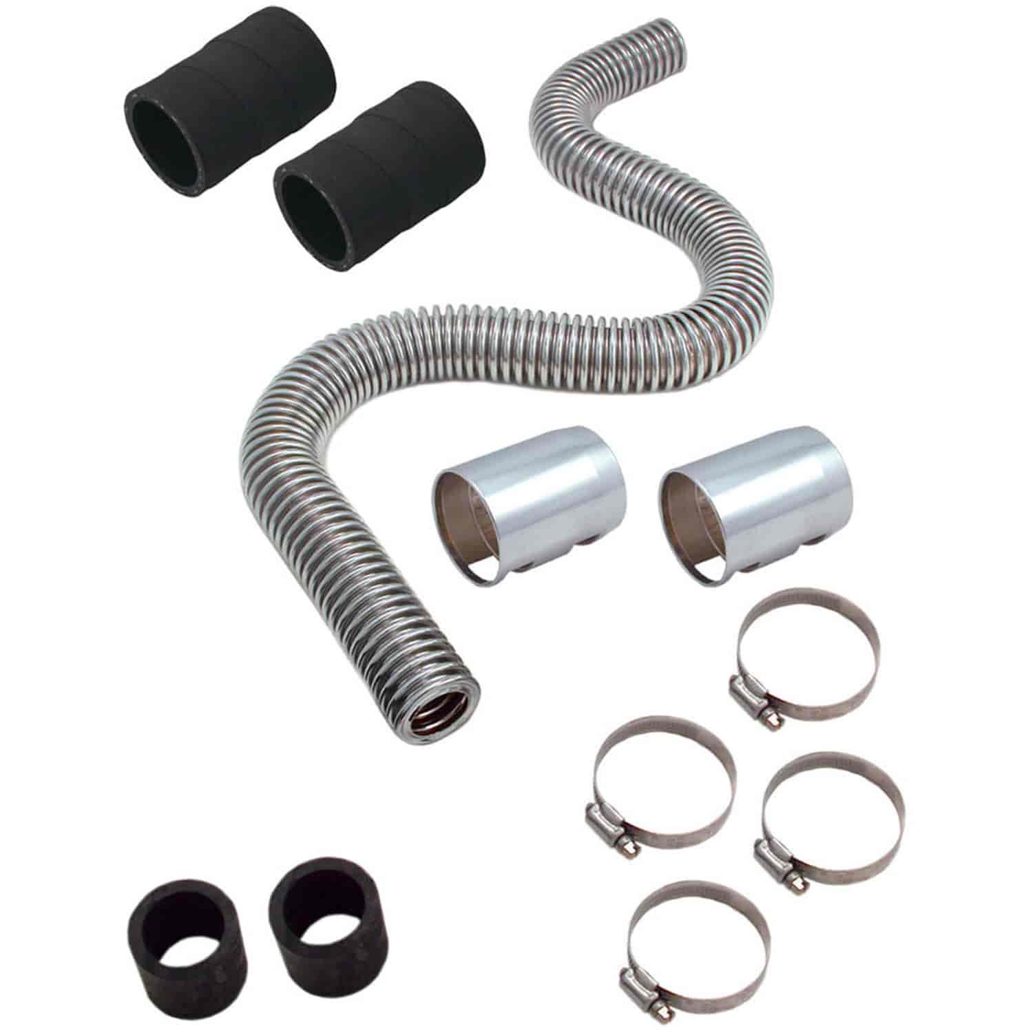 "2 Couplings,fits Chevy Corvette 24/"" Stainless Steel Chrome Radiator Hose Kit"