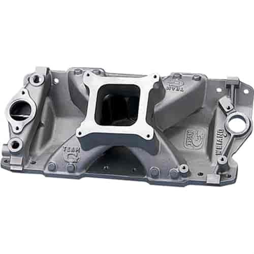Weiand Intake Manifold 7531WND; Team G Single Plane Satin Aluminum for SBC