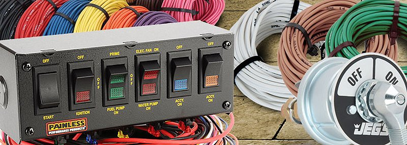 swithpanelswiring wiring harness, connectors, switches, breakers & relays jegs Circuit Breakers Types at sewacar.co