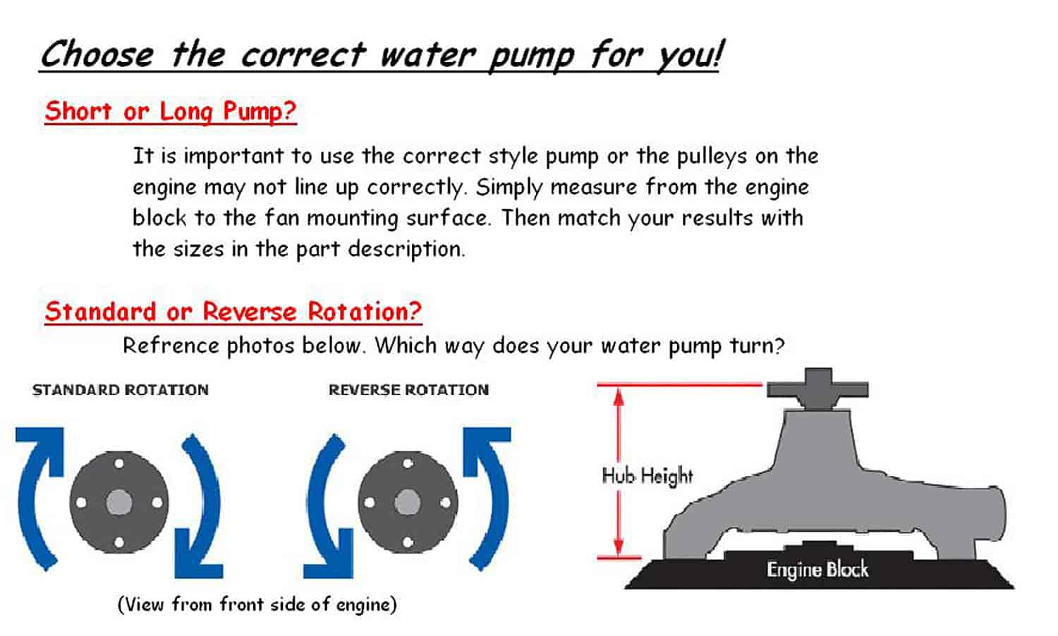 Click here to choose the correct water pump ...